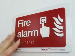 Braille fire alarm