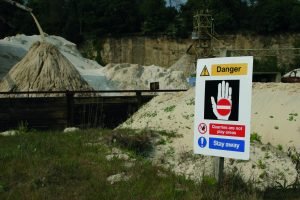 Danger quarry sign, post fix