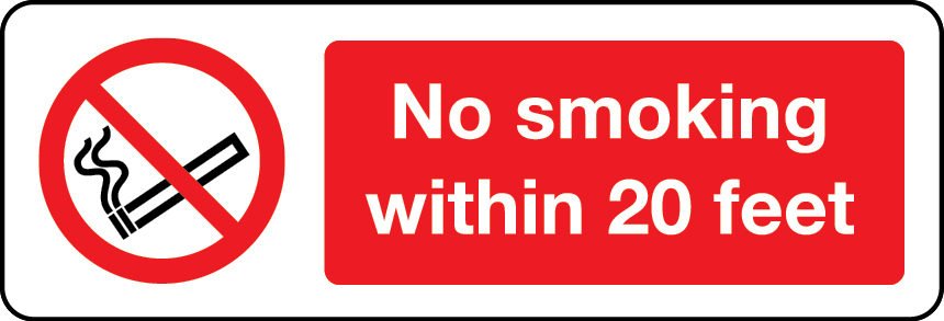 No smoking within 20 feet sign