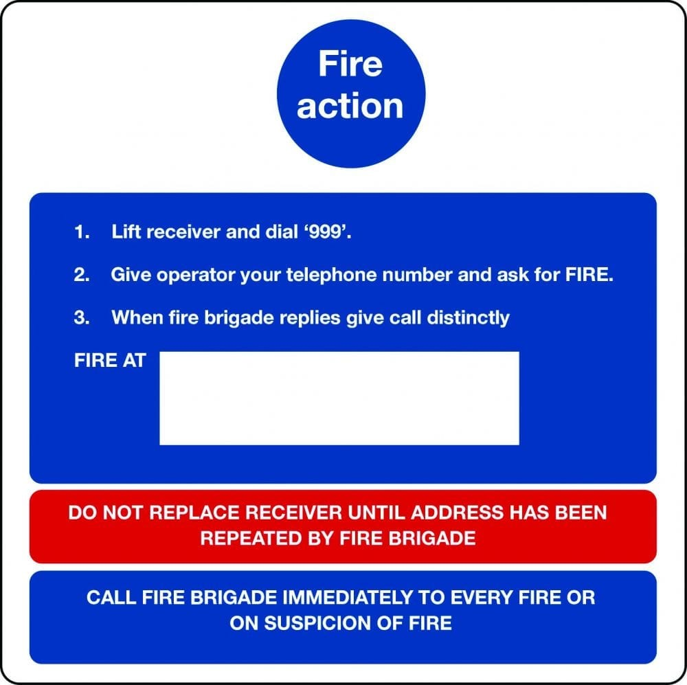Fire action notice for positioning near telephone operator