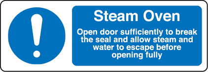 Steam oven open door sufficiently to break the seal sign