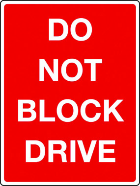 Do not block drive sign