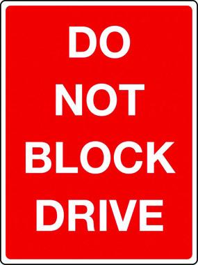 Do not block drive sign