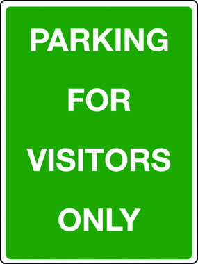 Parking for visitors only sign
