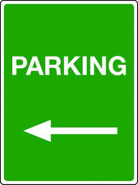 Parking arrow left sign