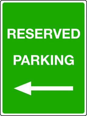 Reserved parking arrow left sign