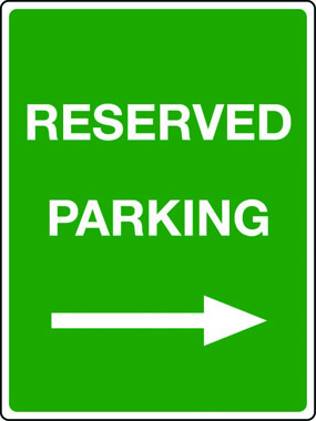 Reserved parking arrow right sign