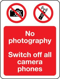 03411 No photography Switch off all mobile phones sign