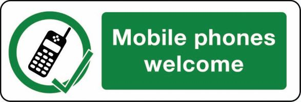 03414 Mobile phones welcome sign from Stocksigns