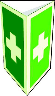 Two-sided photoluminescent first aid sign