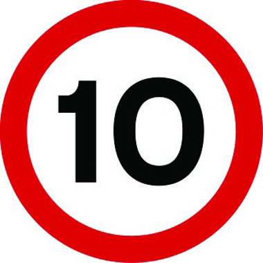 10mph speed limit sign