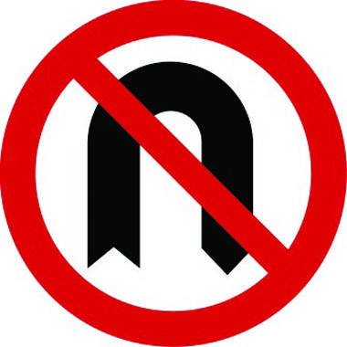 No U-turn traffic sign