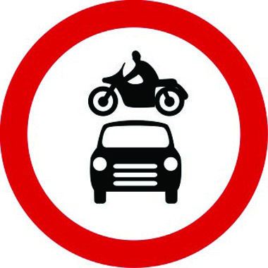 Vehicles prohibited traffic sign