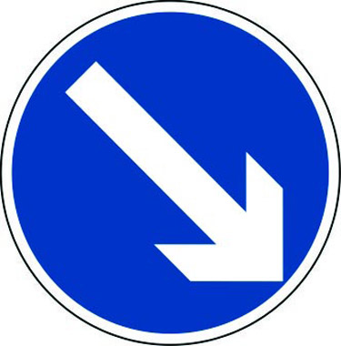 Arrow diagonal down right traffic sign