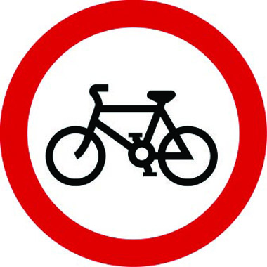 Riding of bicycles prohibited sign