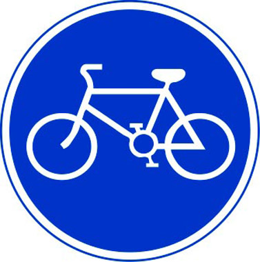 Route for bicycles only sign
