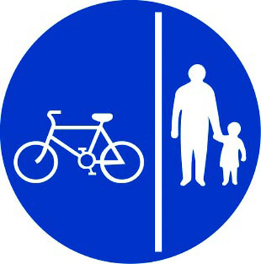 Two-way lane sign for pedestrians and cycles