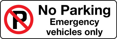 No parking emergency vehicles only sign