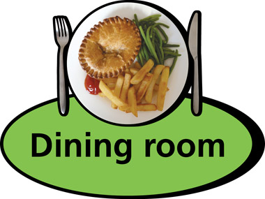 Care Homes Dining Room 300 X 320mm Sign Our Range Of 3D Pictorial Signs Use Bold Colours And Strong Images To Produce Highly Recognisable Door