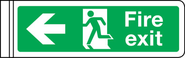 Wall mounted double-sided fire exit sign arrow left