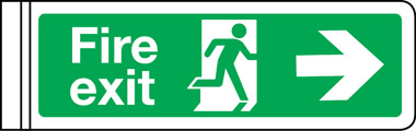 Wall mounted double sided fire exit arrow right sign