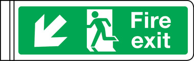 Wall mounted double-sided fire exit sign arrow down left