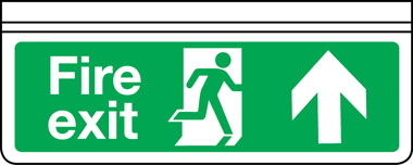 Ceiling mounted single-sided fire exit arrow up sign