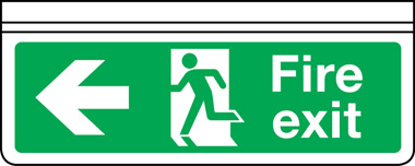 Ceiling mounted double-sided fire exit arrow left sign