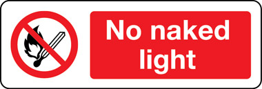 No naked light sign