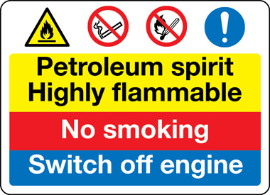 Petroleum spirit highly flammable safety sign