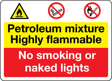 Petroleum mixture safety sign