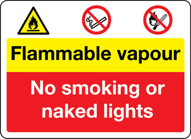 Flammable vapour safety sign