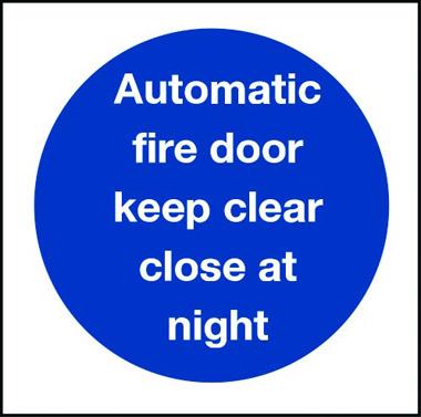 Fire Safety Automatic Fire Door Keep Clear Close At