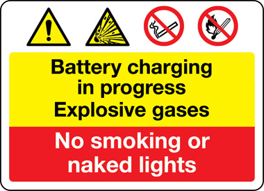 Battery charging in progress explosive gases sign