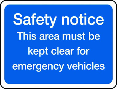 Safety notice emergency vehicles sign