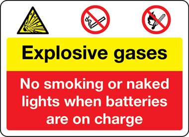 Explosive gases battery charging in progress sign