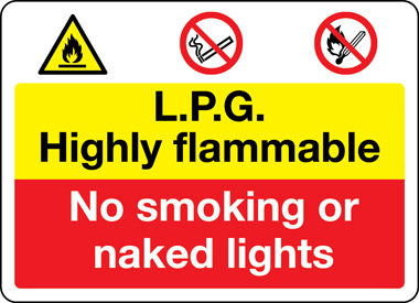 LPG highly flammable safety sign