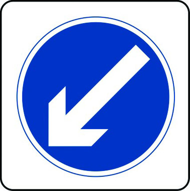 Diagonal left down traffic sign
