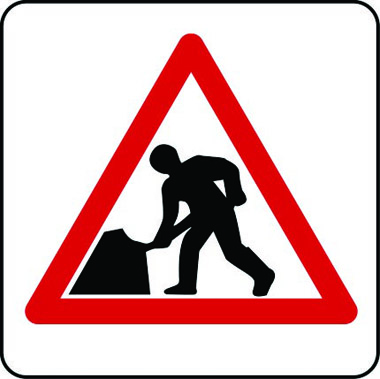 Road works traffic sign