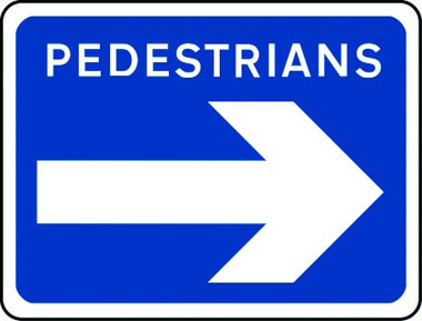 Pedestrians arrow right sign