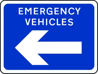 Emergency vehicles arrow left sign