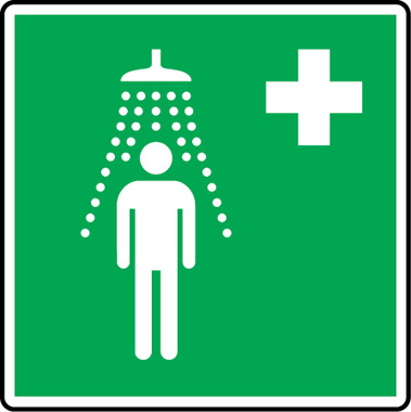 First Aid Emergency Shower Symbol With Cross Sign Stocksigns