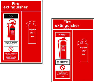 Water fire extinguisher sign back plate