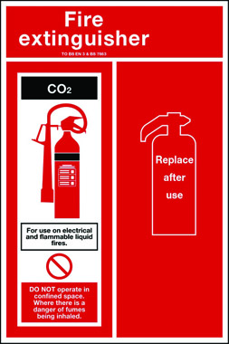 CO2 fire extinguisher sign back plate
