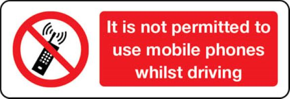 3502 It is not permitted to use mobile phones whilst driving sign