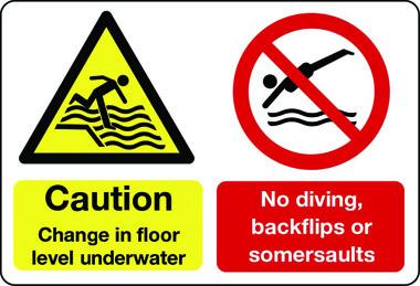 change in floor level underwater, no diving multi-message water sign
