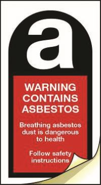 4038 Warning contains asbestos labels 25mm x 50mm