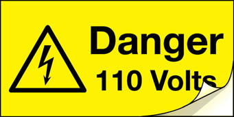 4045 danger 110 volts label