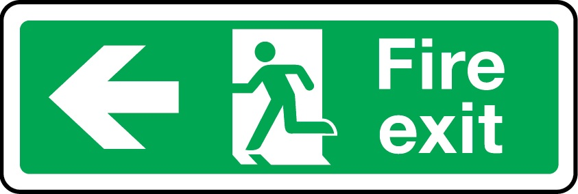 fire exit sign arrow left photoluminescent sign
