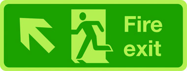 Photoluminescent fire exit sign - arrow up left